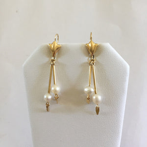14K Yellow Gold Pearl Earrings - E102
