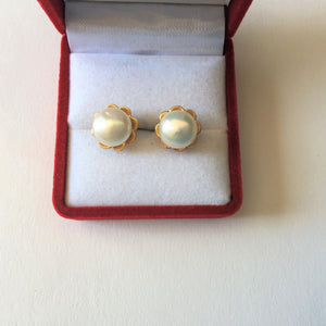 14K Yellow Gold Pearl Earrings - E109
