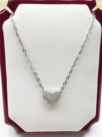14K White Gold Necklace-Nice Chain attached with heart pendant 17in - C28