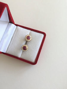 Small 14K Yellow Gold Rubies Earrings - E131