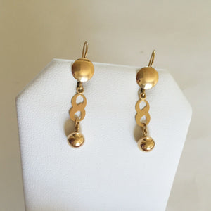 14K Yellow Gold Dangling Earrings - E101