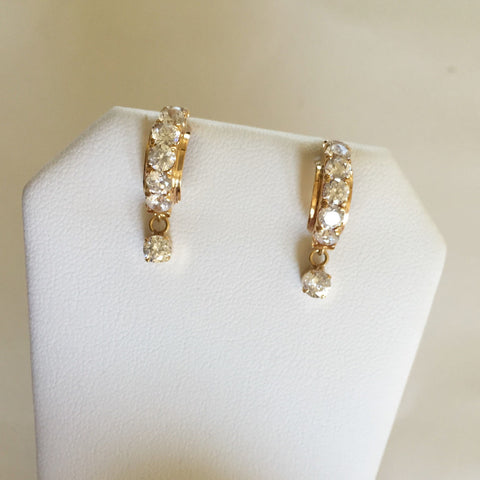 14K Yellow Gold CZ Earrings - E103