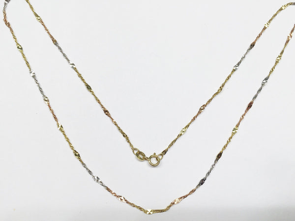 "14K Gold Necklace - Beautiful Tri-color Chain 18"", 20"" - Width 1 MM -C6768"