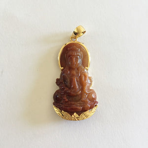14K Yellow Gold Kwan Yin Buddha Natural Jade Pendant - P358