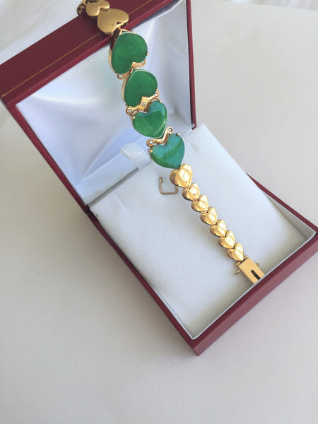 "14K Yellow Gold Heart Jade Ladies Bangle Bracelet - 6.25"" inches -B142"