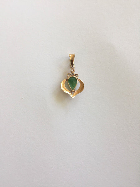 Small 14K Yellow Gold Jade pendant - P432, 433, 434