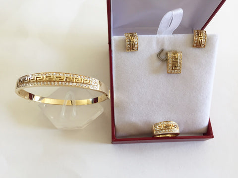 14K Yellow Gold Jewelry set of CZs Earrings, Pendant, Ring, & bangle - O20