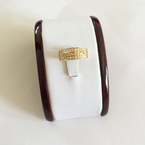 14K Yellow Gold CZs Ring size 6 - R263