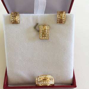 14K Yellow Gold Matching set of CZs Earrings, Pendant, Ring - O21