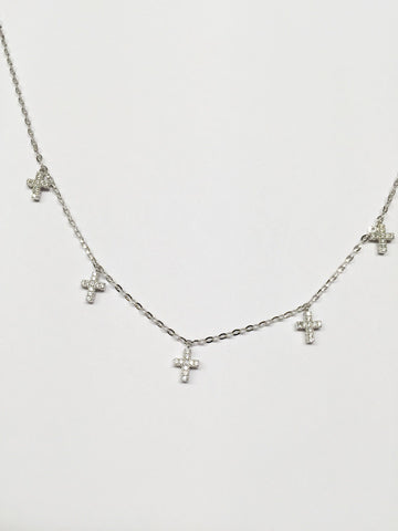 14K White Gold 5 small cross CZ necklace 17 inches - C30