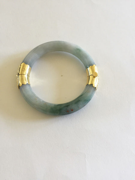 14K Yellow Gold Natural Round Jade Bangle 57 mm - B121
