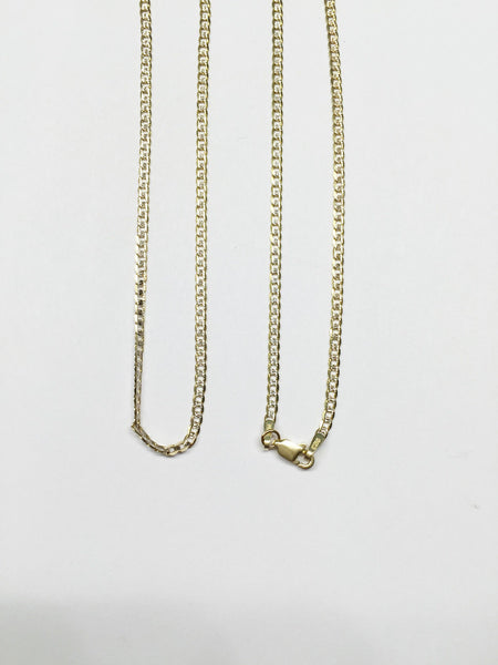 14K Gold Flat Cuban chain 20 inches - Width 2mm - C64