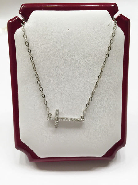14K White Gold Necklace-Nice Chain with cross pendant 17 in - C34