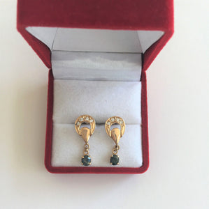 14K Yellow Gold Sapphire Earrings - E133