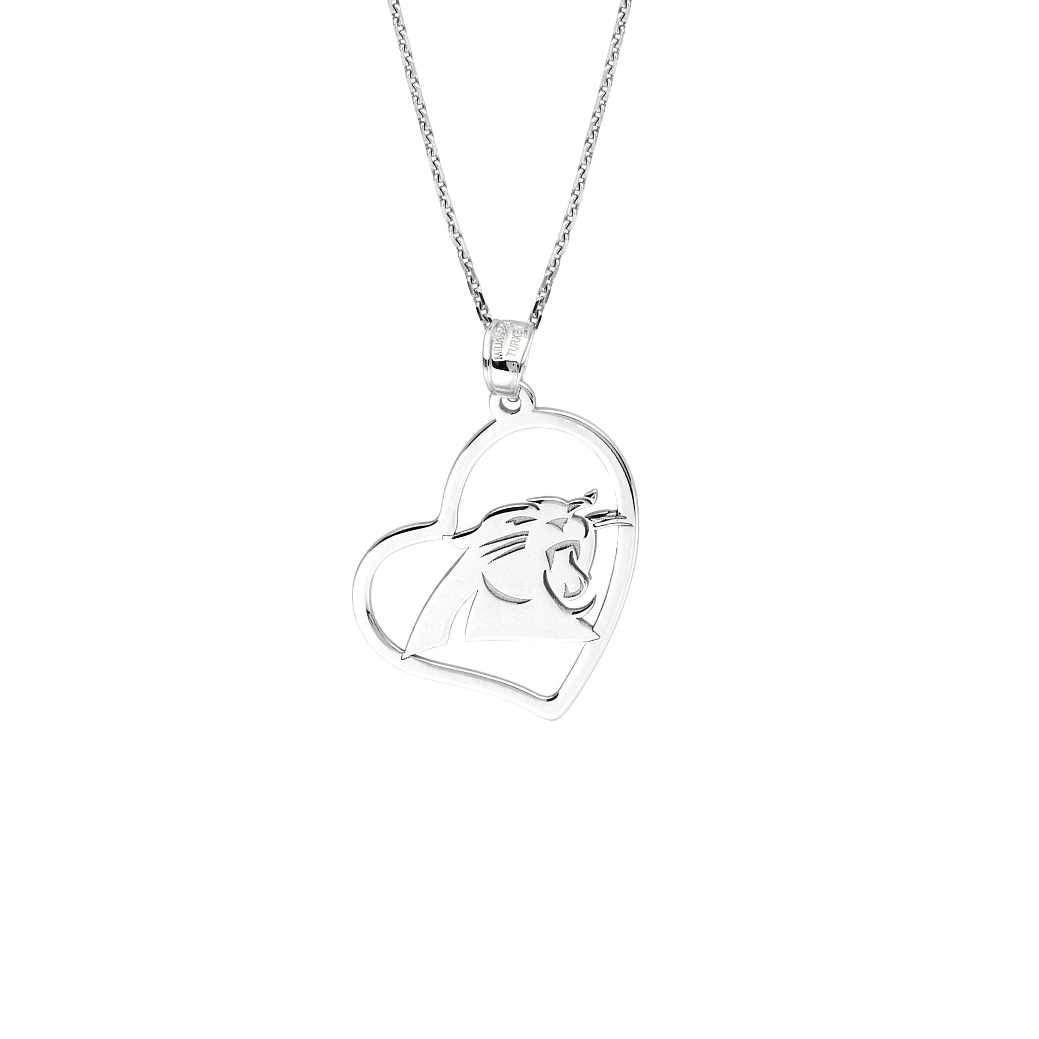 NFL Team Slanted Heart Necklace - Carolina Panthers