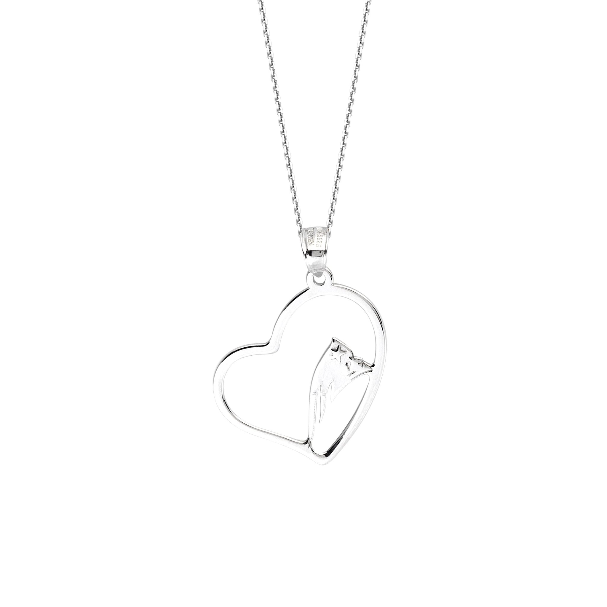 NFL Team Slanted Heart Necklace - New England Patriots