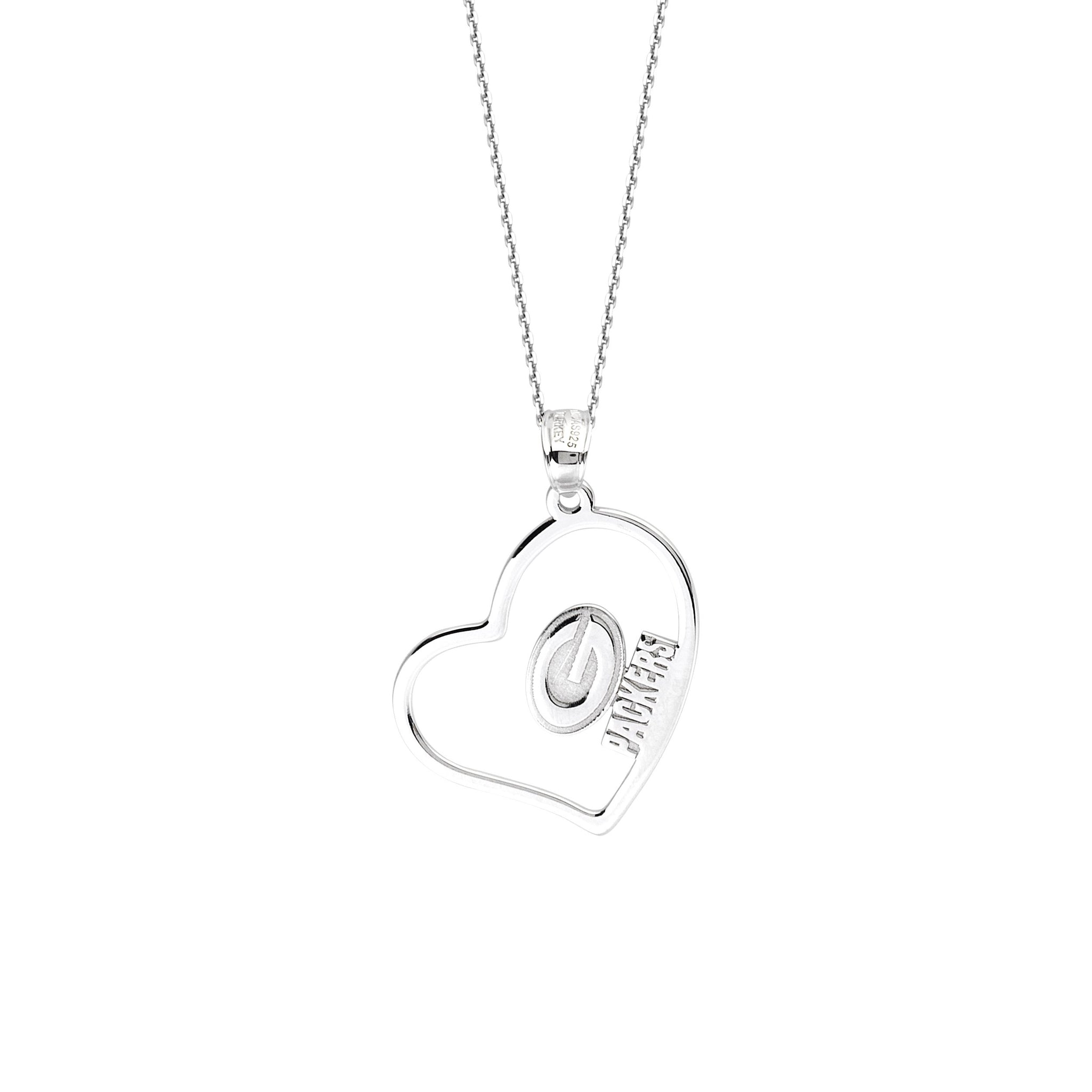NFL Team Slanted Heart Necklace - Green Bay Packers