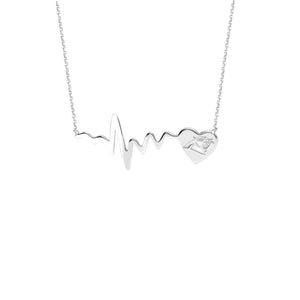 NFL Team HeartBeat Heart Necklace - Carolina Panthers