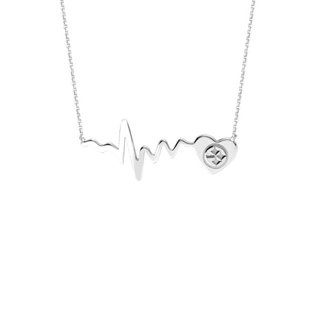 NFL Team Heartbeat Heart Necklace - Pittsburgh Steelers