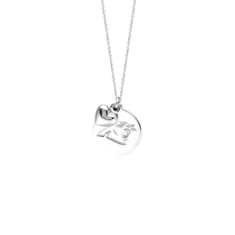 NFL Team Disk/Puffed Heart Necklace - Carolina Panthers