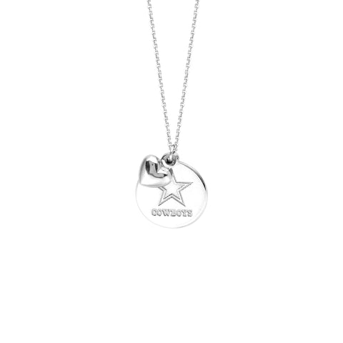 NFL Team Disk/Puffed Heart Necklace - Dallas Cowboys