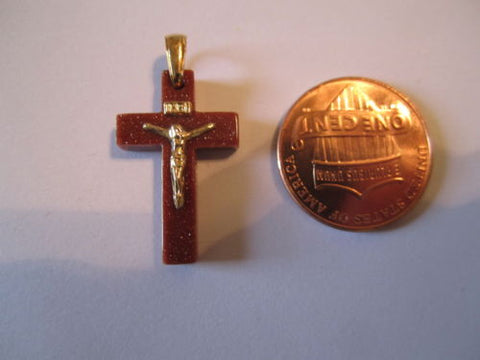 Small 14K Yellow Gold Small Crucifix Cross Pendant for baby - P47