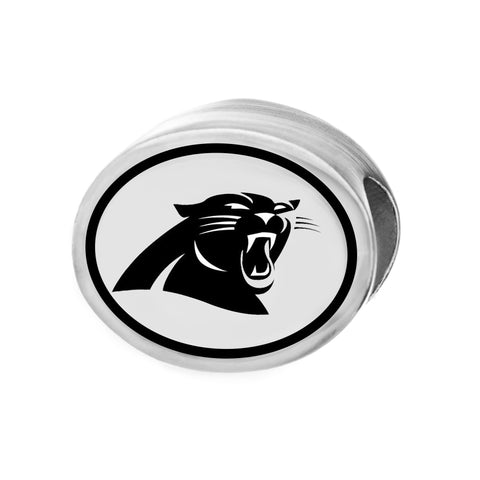 NFL Team Silver Bead Charm - Carolina Panthers