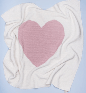 Organic Baby Blanket - Pink Heart - Make Me Yours Toy Studio