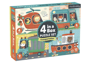 4 in a Box Puzzle Set - Transportation - Make Me Yours Toy Studio
