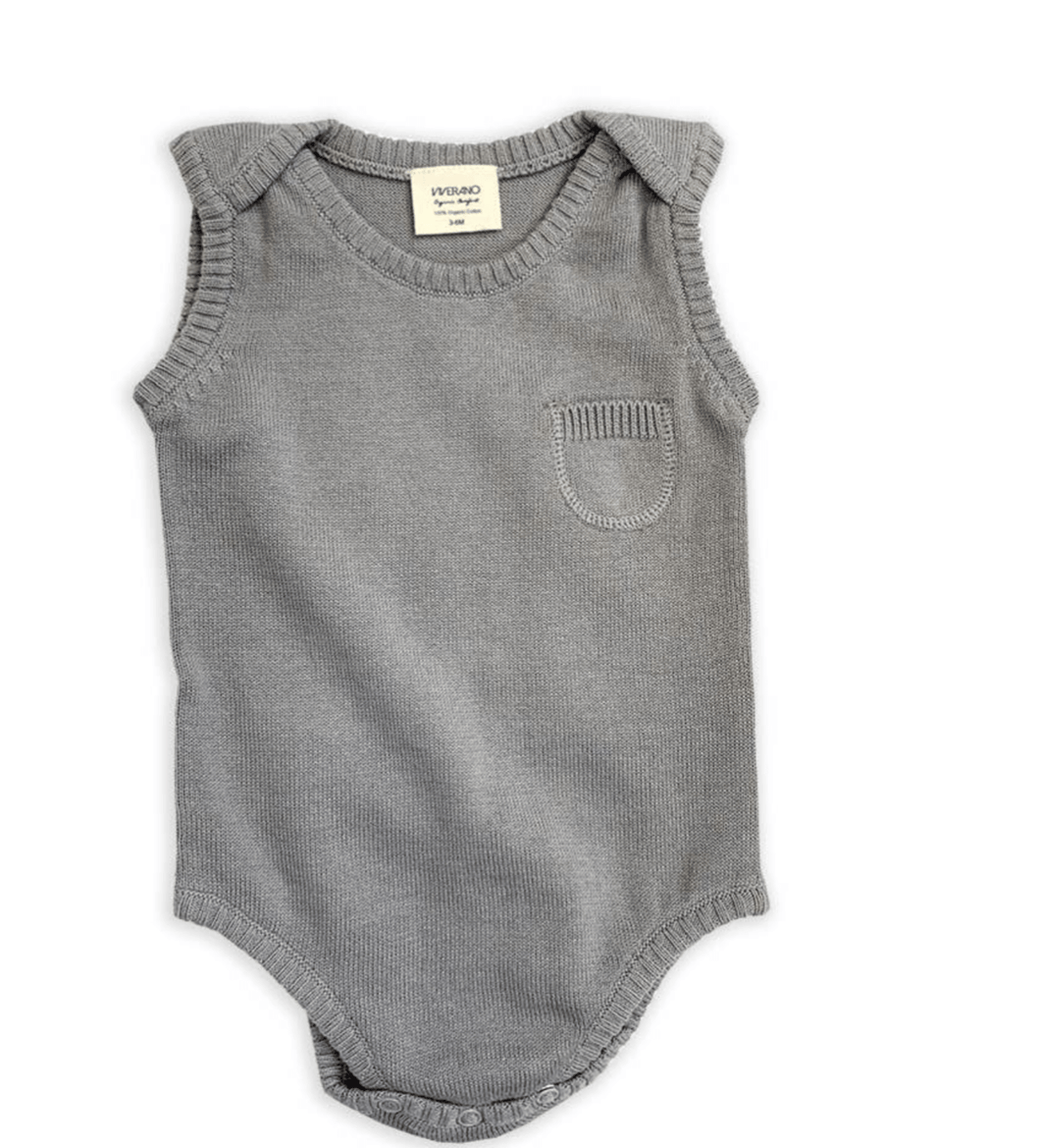 Organic Knitted Sleeveless Bodysuit - Gray - Make Me Yours Toy Studio