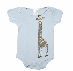 Organic Infant Bodysuit- Giraffe Blue - Make Me Yours Toy Studio