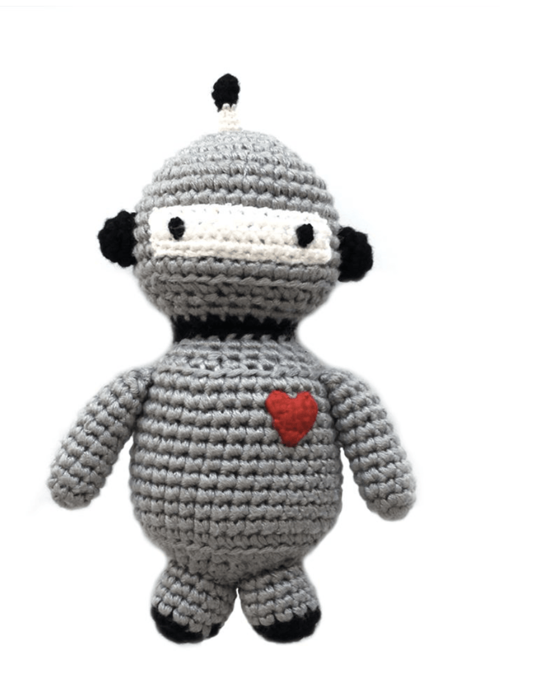 Crocheted Organic Robot Rattle - Make Me Yours Toy Studio