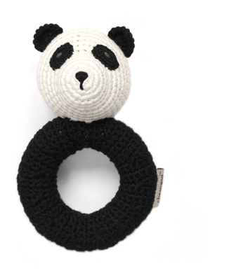 Hand crocheted Panda Rattle - Make Me Yours Toy Studio