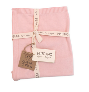Organic Cotton Knitted Blanket - Pink