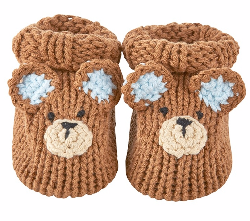 Brown Bear Knit Booties