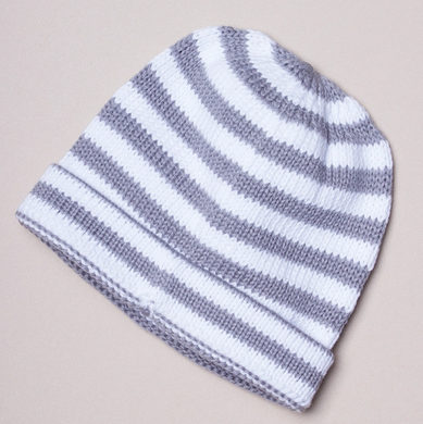 Gray Striped Cotton Baby Hat