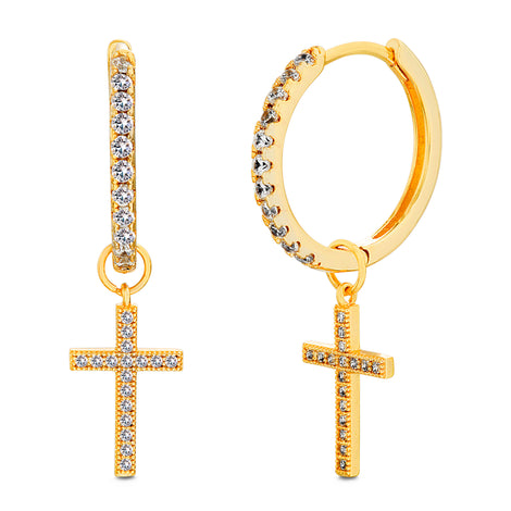 Sparkling Cross Hoops