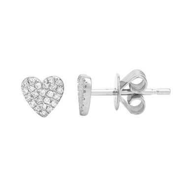 ALEV Small Pave Heart Studs - Camila Canabal Shop