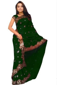 Indian Embroidery Georgette Silk Saree-13 Colors - Wish-n-Bliss