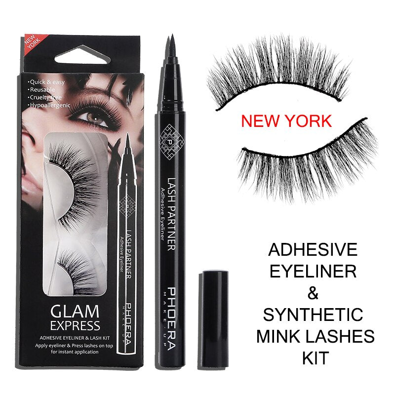 PHOERA 3/pcs Magnet Eyelashes & Liquid Eyeliner Set