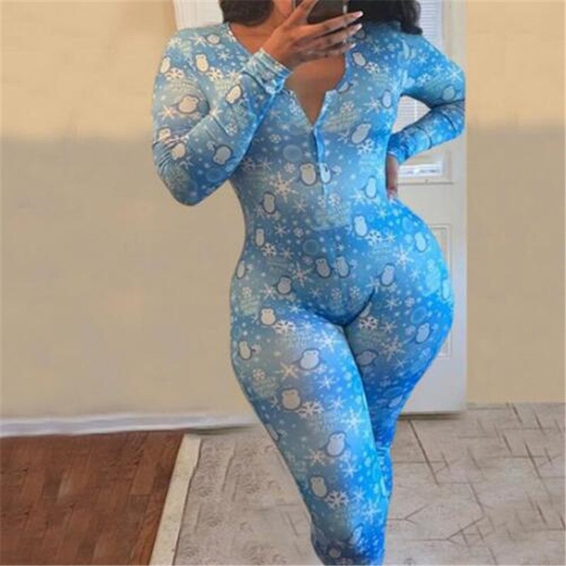 V-neck Sleepwear Jumpsuit Romper