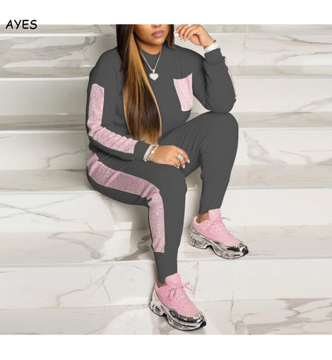 Women Sequins Tracksuit