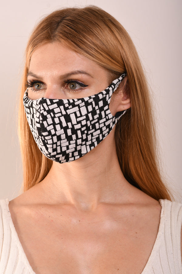 Black & Ivory Blocks Reversible Mask