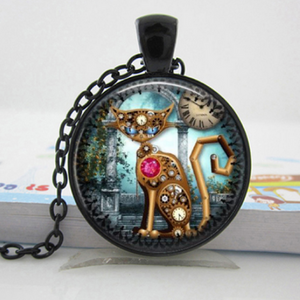 Cat Steampunk Necklace Free+Shipping