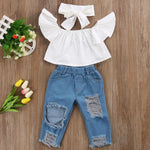Mona White Off-Shoulder + Ripped Jeans 3pcs Set