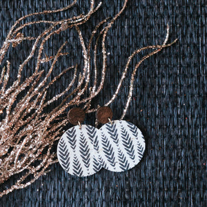 Herringbone Black on White Cork Earrings