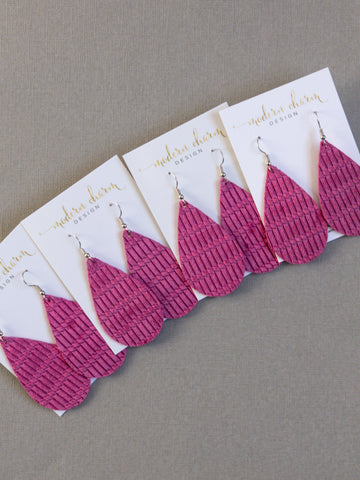 Hot Pink Weave Leather Earrings