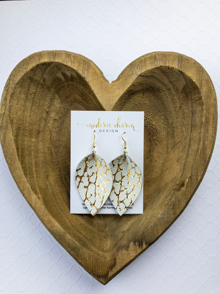 Gold Metallic on Ivory Leather Earrings