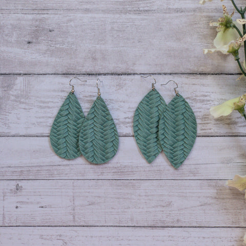 Sea Foam Green Braided Leather Earrings
