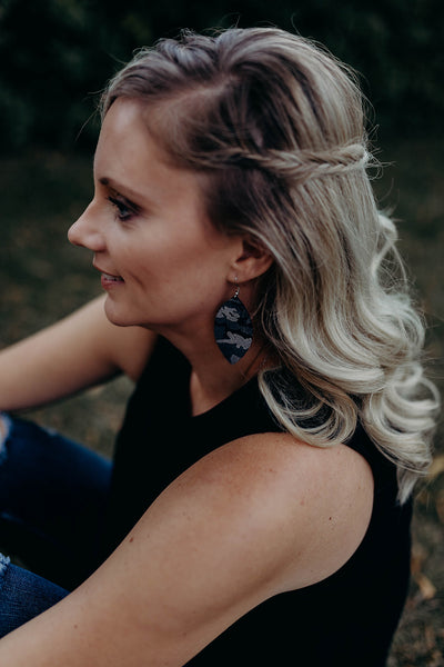 Silver Metallic Camo Earrings